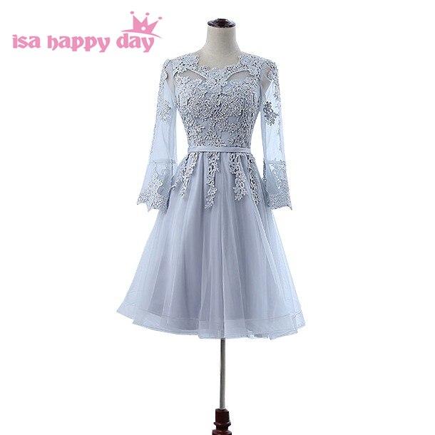 Modeste élégant gris décolleté applique modeste bal robes de soirée dernière robe courte avec manches femmes dîner robe H4210