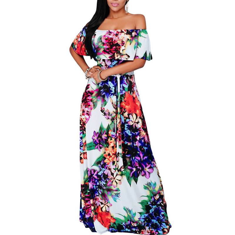 2017 Floral Ruffle Women Cover ups Long Beach Dress Tunic Beach swimwear Bathing Suit Off shoulder robe de plage S M L cover-up