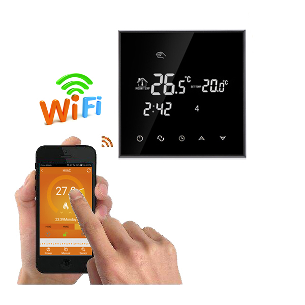 WiFi Touch Screen Room Thermostat For Underfloor Heating System  Water/Electric Floor Heater Remote Control