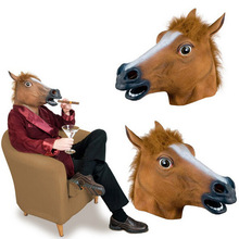 New Latex Halloween Mask Horse Head Cosplay Full Face Horror Animal Decoration Party Supplies