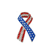 MZC Fashion USA Flag Tie Logo Brooches Best Friends Crystal Pin Men Women Jewelry Patriotic Red Blue Broche Color Bijoux Femme