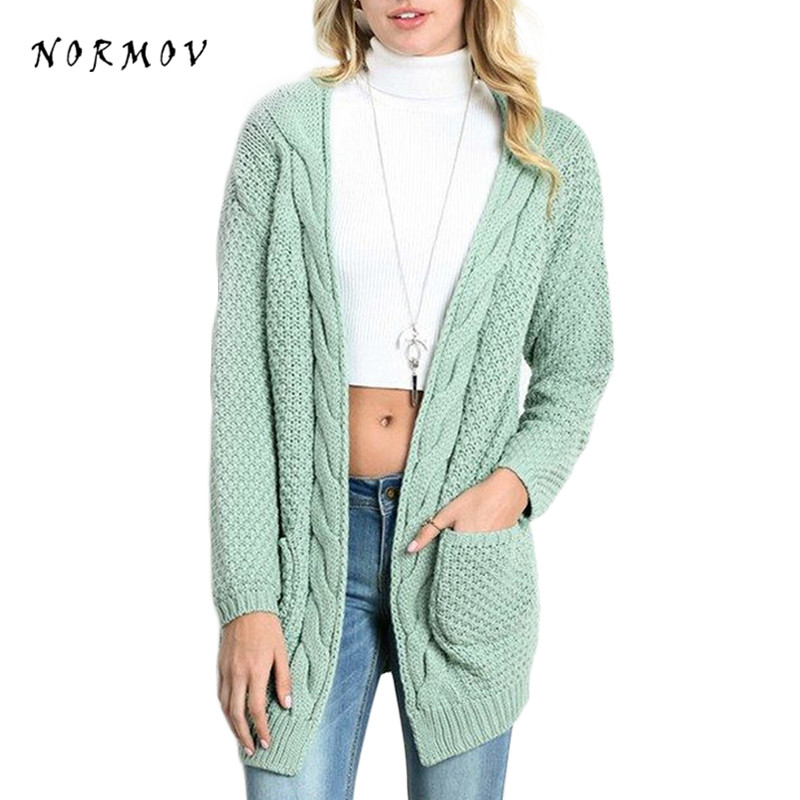 NORMOV Woman Cardigan Sweater Conventional large size solid color loose pocket Sweaters Women's Cable knitting Cardigan