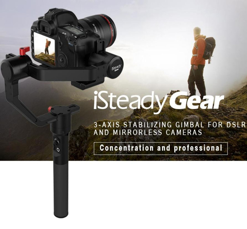 Hohem ISteady Gear 3 Axis Handheld Stabilizing Gimbal For DSLR/Mirrorless Cameras APP 2.5kg Load Weight PK Zhiyun Crane Plus V2