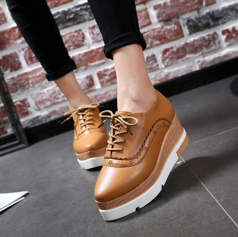 2018 new Brock women platform shoes fashion female flat bottom casual shoes thick bottom pointed lace-up leather shoes footwear women s shoes 2017 summer new fashion footwear women s air network flat shoes breathable comfortable casual shoes jdt103
