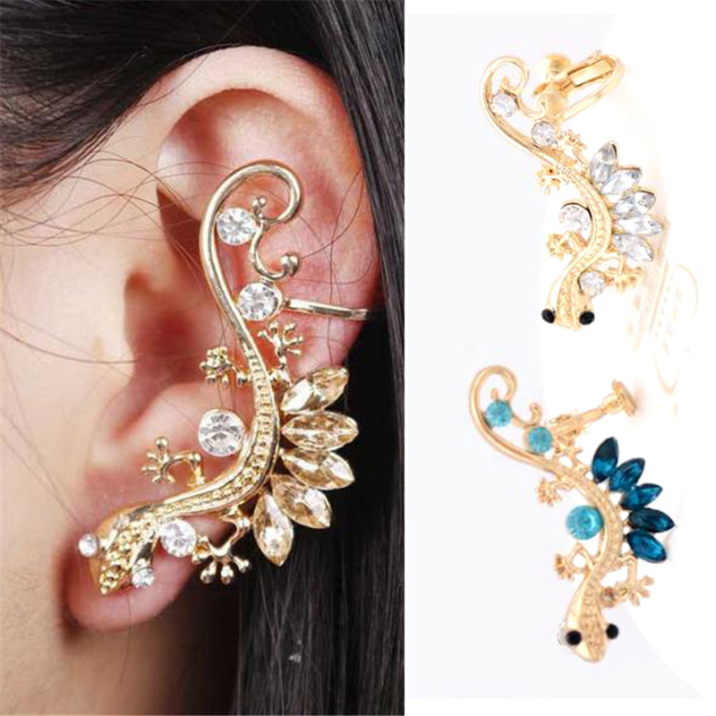 Gothic Punk Crystal Lizard Ear Cuffs Animal Clip Earrings for Women Gold Color Alloy Rhinestone Animal Geckos Clip Earrings