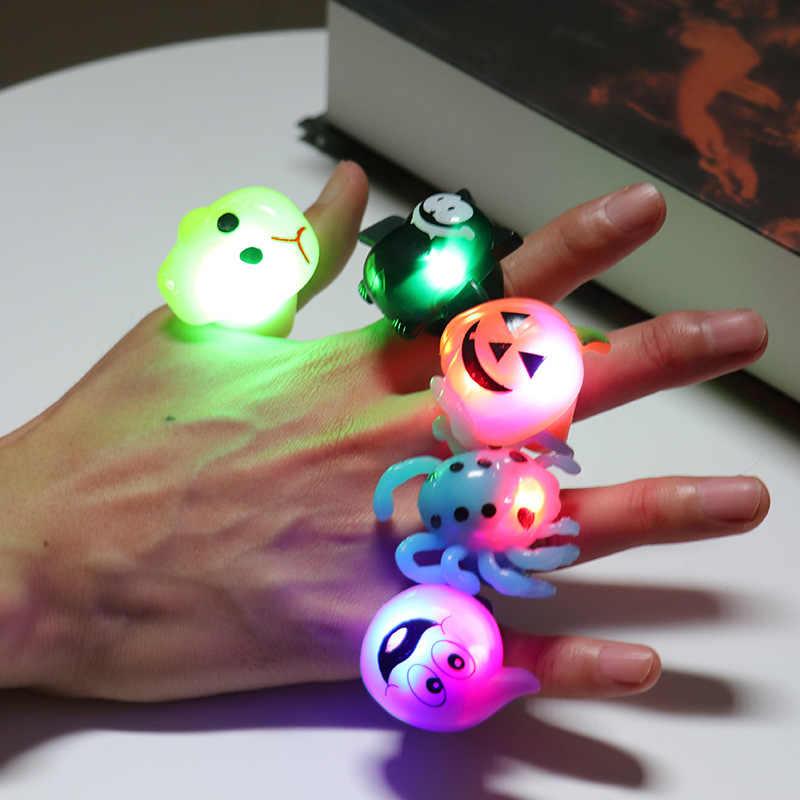 Niños dibujos animados LED parpadeante luz brillante dedo anillo electrónico Navidad Halloween diversión Juguetes regalos para niños Color aleatorio