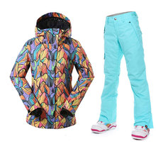 Gsou Snow Women Ski Suits Women Winter Outdoor Ski Wear Waterproof Breathable Skiing Jacket Pants Warmth Female Snowboard Sets gsou snow men ski jacket snowboard jacket windproof waterproof outdoor sport wear skiing snowboard clothing male winter jacket