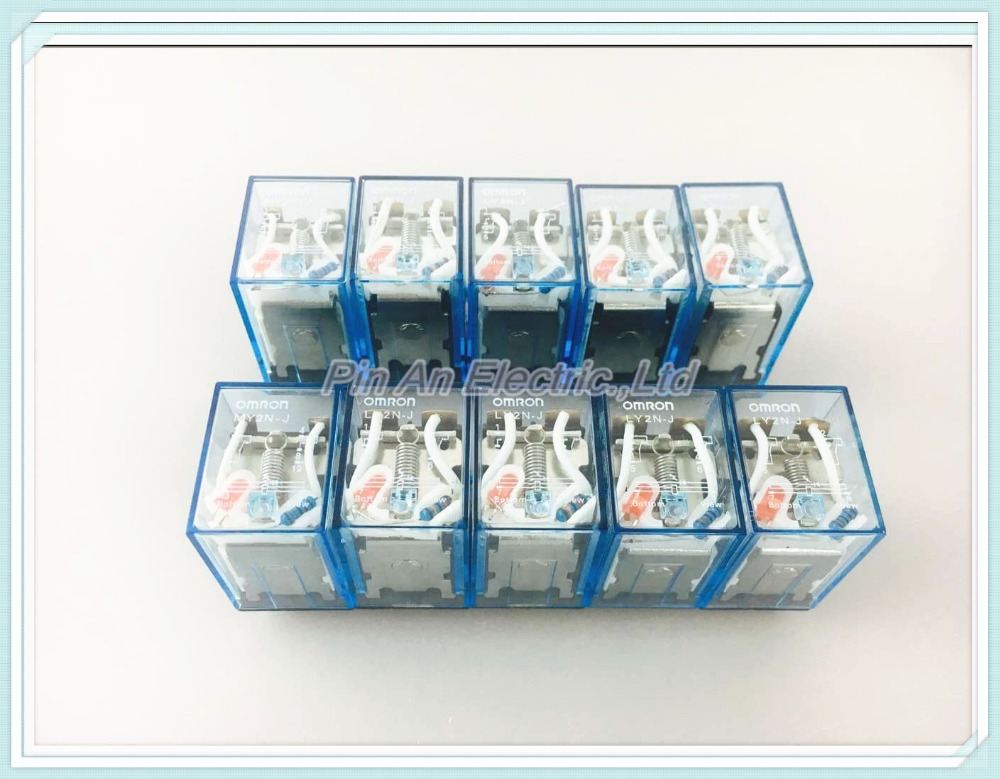 10Pcs Relay LY2NJ 110V AC Small relay 10A 8PIN Coil DPDT ly2nj ac220v dc24v coil 2no 2nc 8pin power electromagnetic relay w ptf08a socket