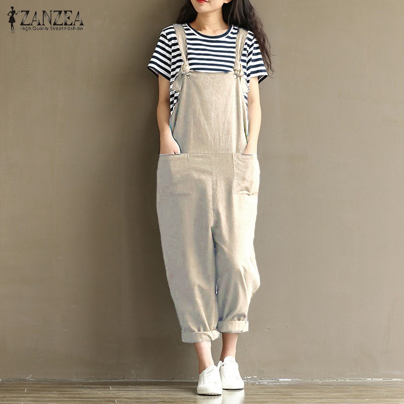 Women's Clothing ... Jumpsuits, Playsuits & Bodysuits ... 32712863022 ... 5 ... 2019 ZANZEA Rompers Womens Jumpsuits Casual Vintage Sleeveless Backless Casual Loose Solid Overalls Strapless Paysuits Plus Size ...