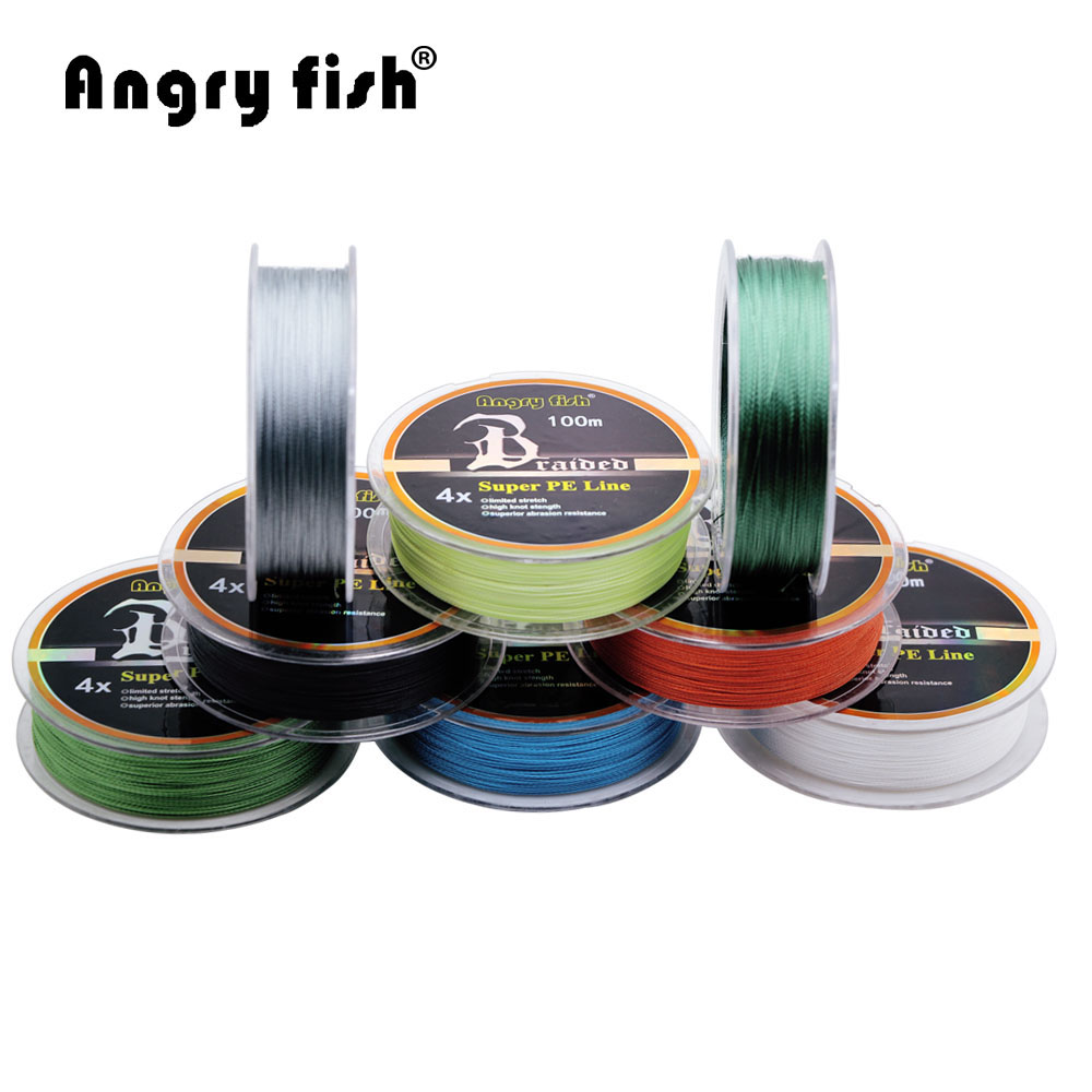 Angryfish Wholesale 100m 4 Strands Braided Fishing Line 11 Colors Super PE Line Strong Strength Fish ...
