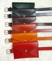 Women fashion leather belt small pocket waist belts black green red brief belts new 2018 female