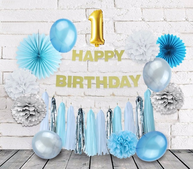 1st Baby Boy Birthday Decorations Blue Theme Party Decoration 1 Foil Balloons Paper Fans Supplies Shower Decor