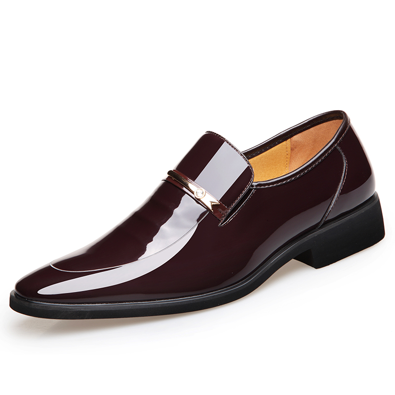 GOXPACER Spring Men Shoes Formal Shiny Shoes Business Soft Sole Inner Heels Patent Leather Flats Men Flats Fashion Pointed Toe