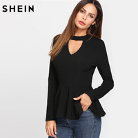 SHEIN Black Women T Shirt Long Sleeve Cut Out V Neck Elegant T Shirt Women Brand
