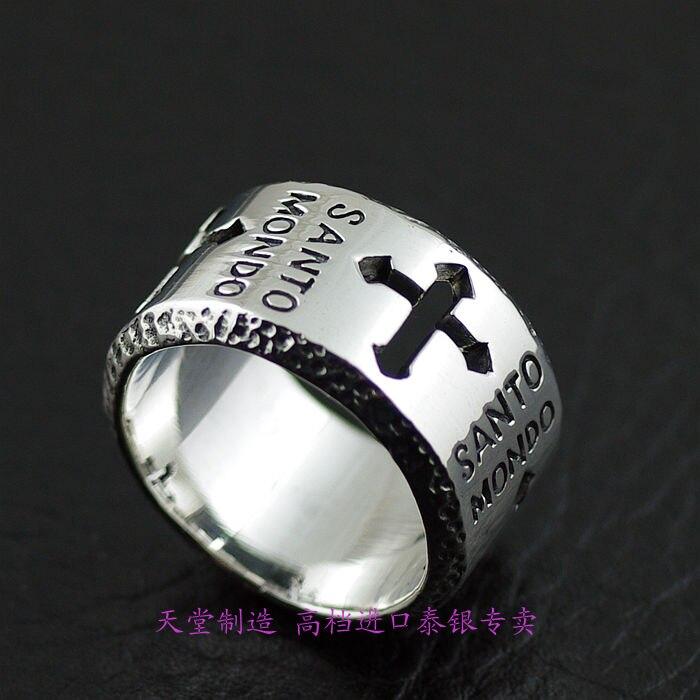 La thaïlande importe une bague en argent sterling 925, la sainte croix, bague en argent pour homme