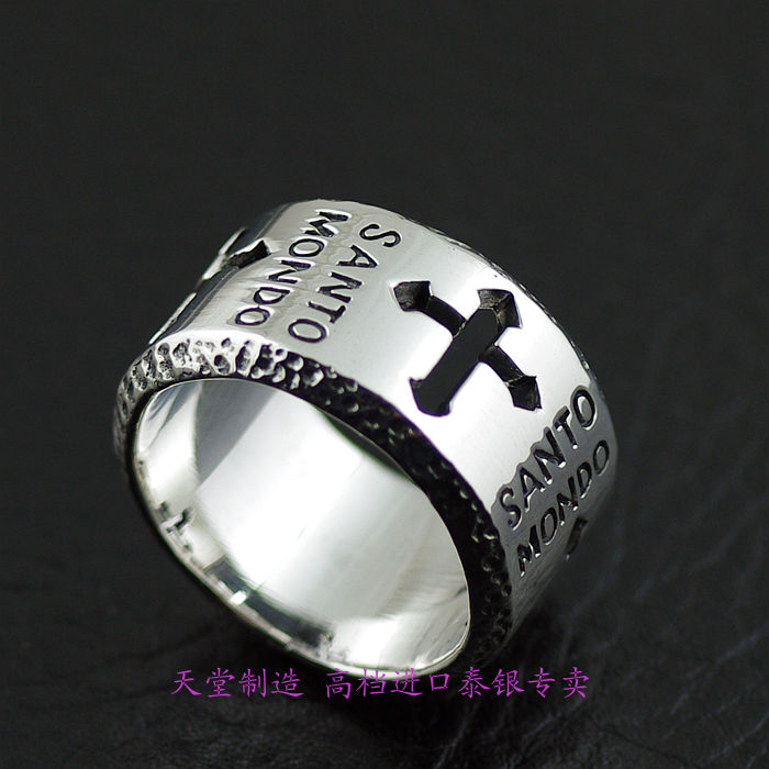 Thailand imports 925 sterling silver ring, the Holy Cross thailand imports skull blood new skeleton silver ring