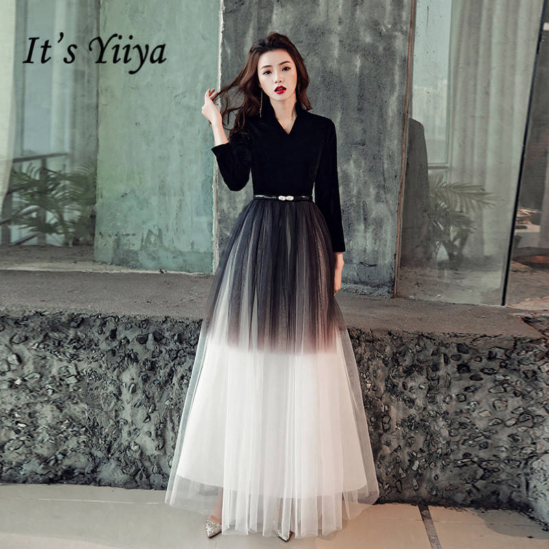 It's YiiYa   Evening     Dress   Gradient Black Color Long Formal   Dresses   Elegant V-neck Zipper Three Quarter Sleeve Party Gown E012