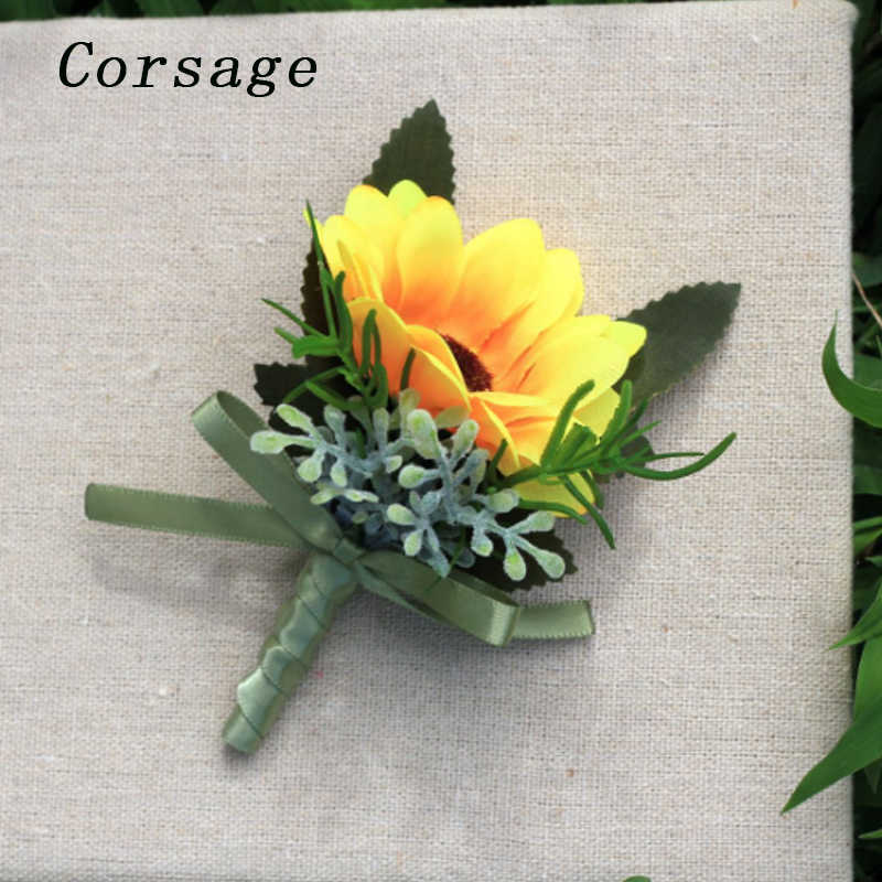 Unisex Yellow Sunflowers Boutonniere For Party Wedding Cloth Decor Boutonniere Pin Bridal Wrist Corsage Bridesmaid Bracelet