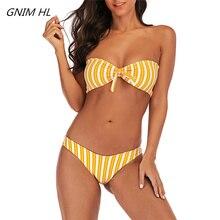 New Bikini Mujer 2019 Push Up Swimwear Women Stripe Bikini Brazilian Summer Beach Wear Bathing Suit Two Pieces Swimsuit Women