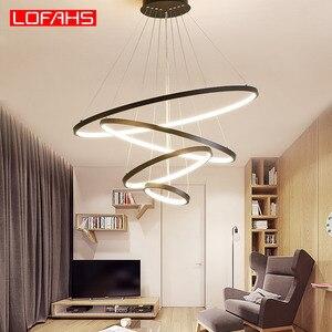 Image 4 - LOFAHS מודרני Led תליון אור לתלות אלומיניום מעגל טבעת מנורת מרחוק תאורה למטבח סלון חדר אוכל luminaire suspendu