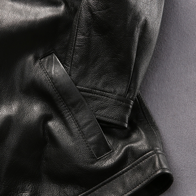 simple design good quality coat men's cow leather jacket mens genuine cowhide leather vintage rider jacket
