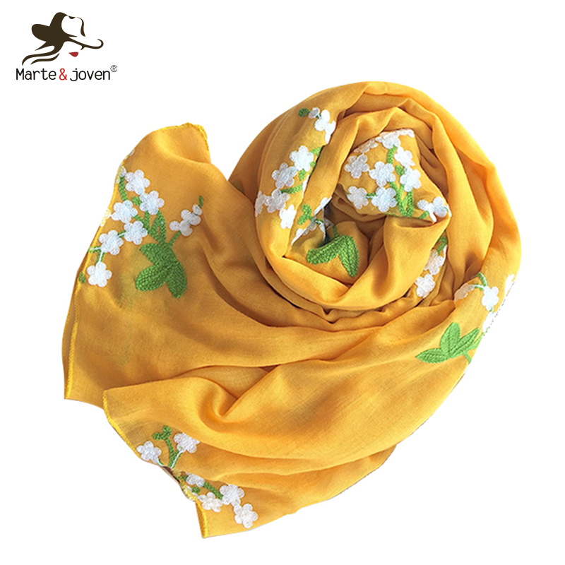 Marte&Joven Solid Floral Embroidery Scarf Pashmina For Women Fashion Ultra-Soft Autumn Winter Yellow Long Shawls Wraps Ladies