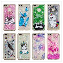 Bling Quicksand Case For Huawei P Smart 3D Unicorn Dynamic Liquid Glitter Enjoy 7S 5.65 inch Phone Cover