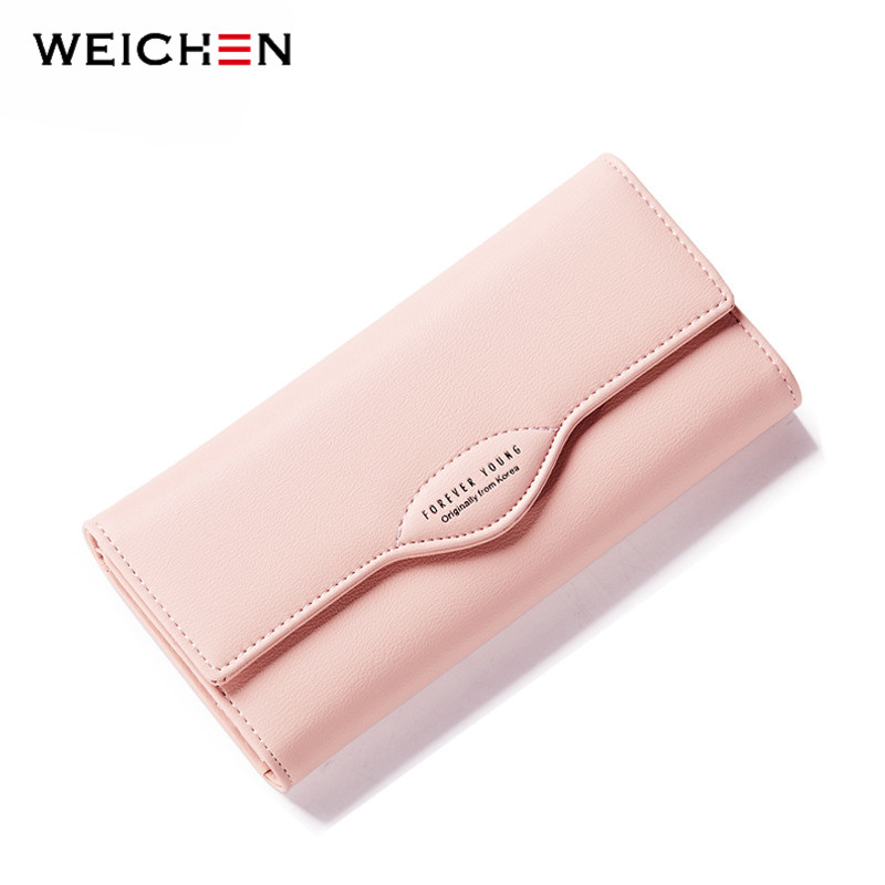 WEICHEN Solid Hasp Designer Women Long Wallet with Big Capacity Coin Pocket Card Holder Female Purse Casual Clutch Wallet Girl casual weaving design card holder handbag hasp wallet for women