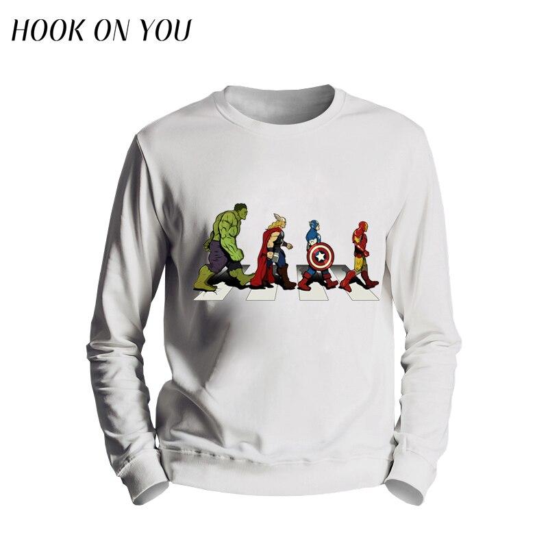 2017 New Arrival The Avengers Men Sweatshirt Avenger Road Superhero Design O-Neck Hoodie Funny Clothing  Man Outerwear Cool Tops