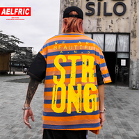 AELFRIC Hip Hop Striped Color Block Patchwork Graffiti Mens T Shirt Summer Harajuku Streetwear Tops Casual Cotton Short Sleeve