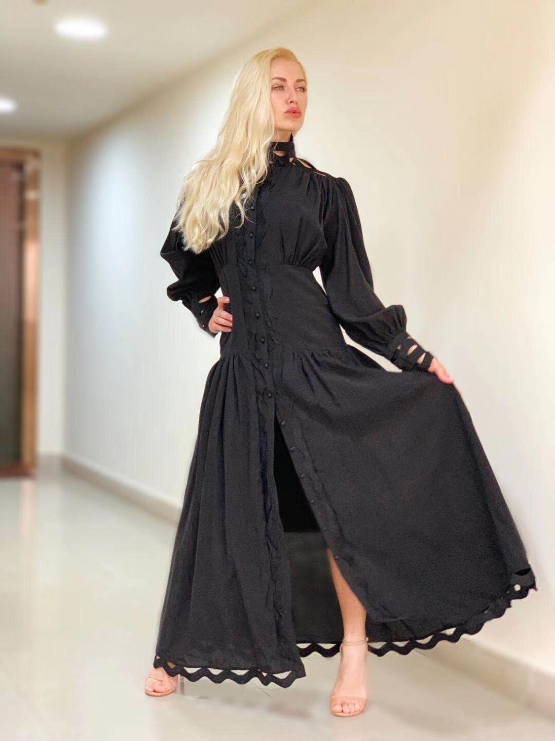 2019 New Fashion Women Cotton Dress Long Puff Sleeve Stand Collar Hollow Out White Lace Dress