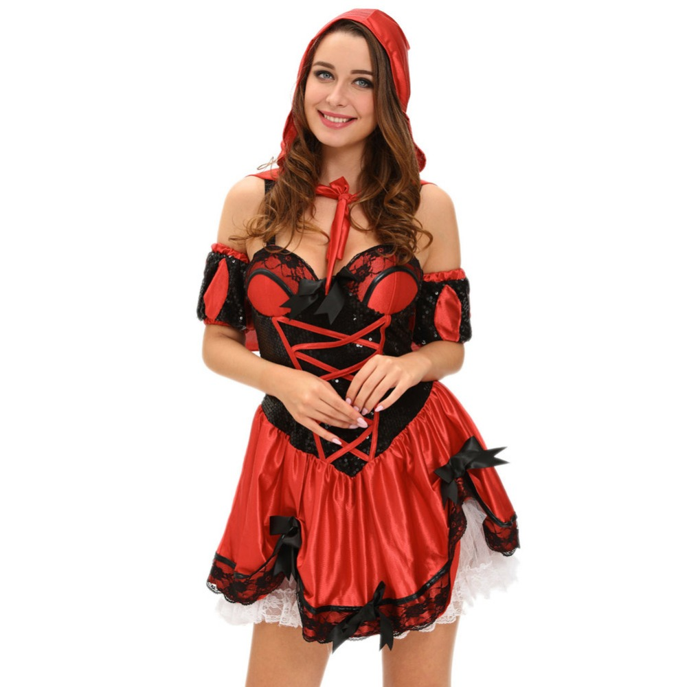 high quality women fantasy costume 2017 fashion halloween costume 4pcs miss red riding hood costume lc8977 - High Quality Womens Halloween Costumes