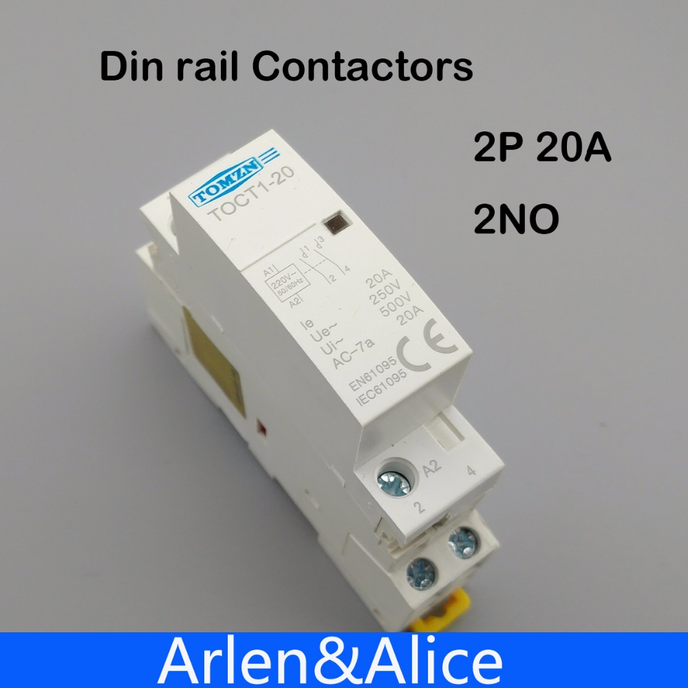 TOCT1 2 P 20A 220 V/230 V 50/60 HZ rail Din Ménage ac contacteur Modulaire 2NO