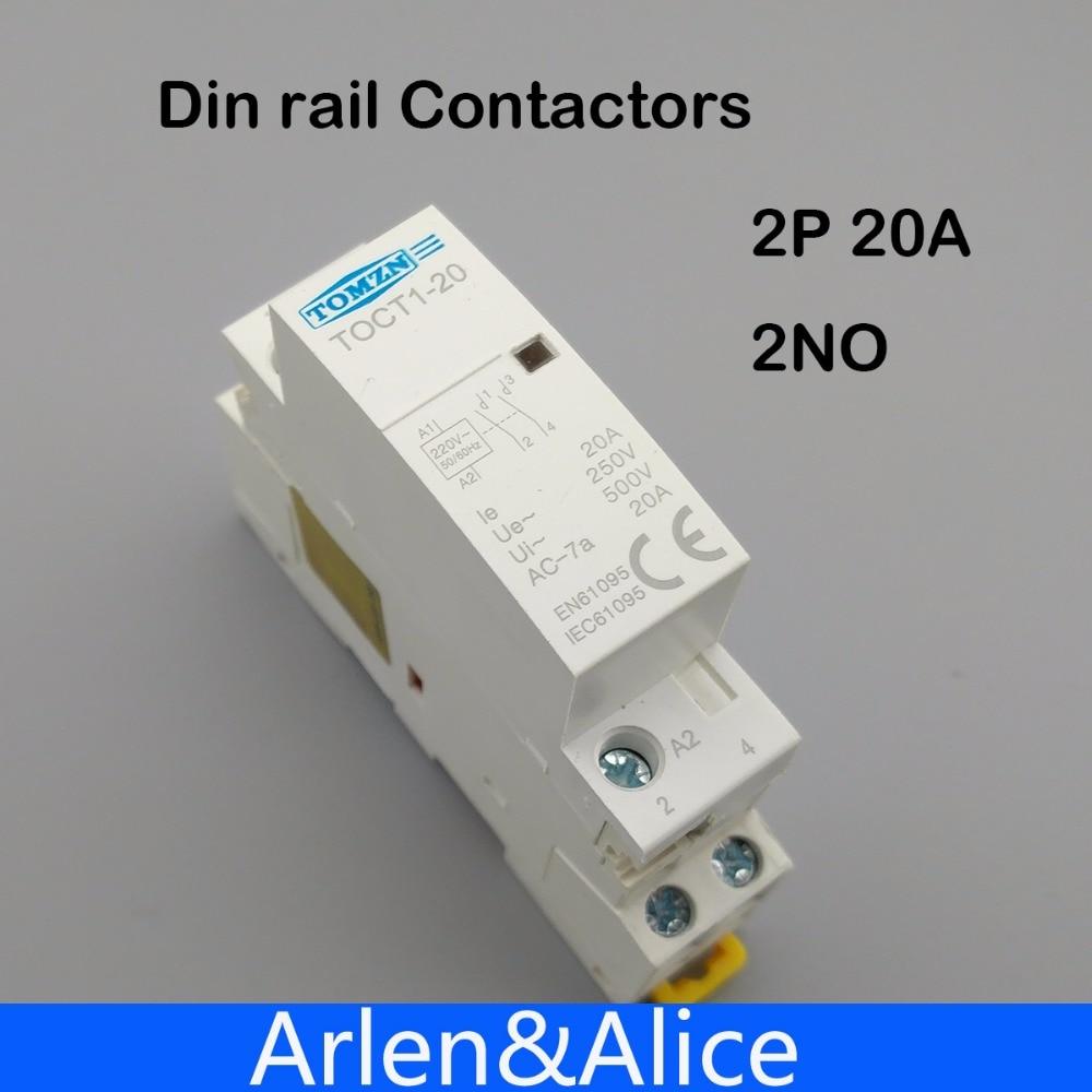 TOCT1 2P 20A 220V/230V 50/60HZ Din rail Household ac Modular contactor 2NO toct1 2p 16a 220v 230v 50 60hz din rail household ac modular contactor 2no or 1no 1nc