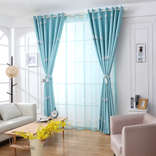 Curtain New Style Dandelion Patterns Long Window Door Curtains Living Room Bedroom Blackout Blue Pink