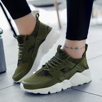 Spring Summer Casual Mesh Shoes Men Flat Shoes Winter Lace Up Breathable Footwear Male Green Color
