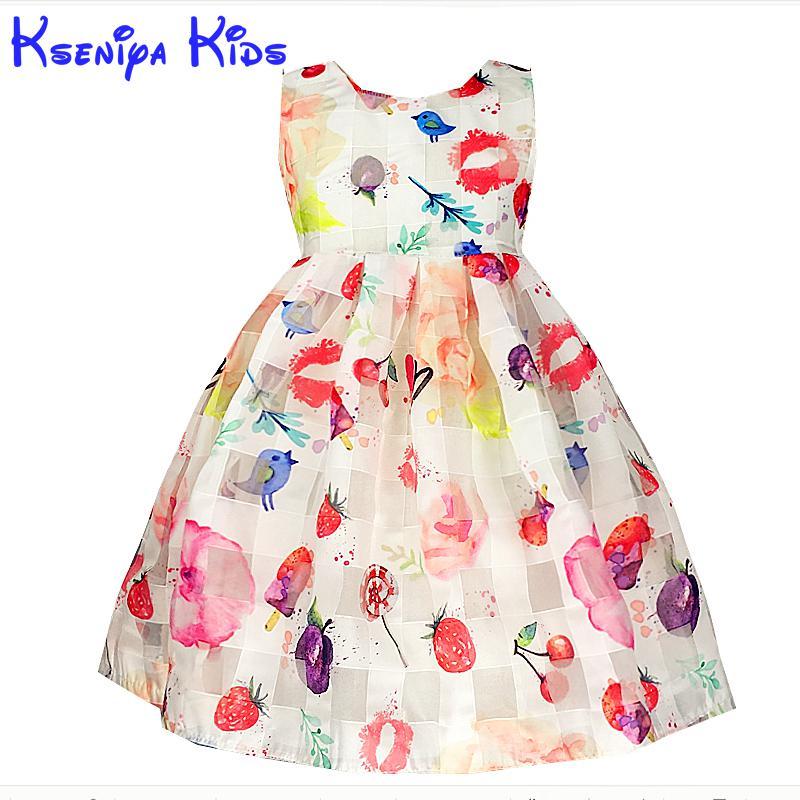kseniya kids summer Girl Dress Animal Print Candy Color Net Yarn Birthday Dress For Baby Girl Kids Clothes Children's Dresses