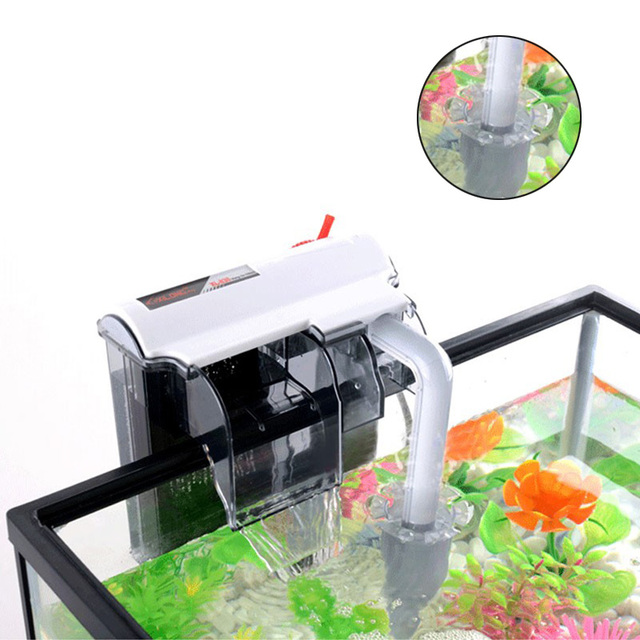 Filtro externo de 3/5/7/10 W bomba de filtro de cascada de Acuario + desnatador de proteínas para guardar espacio para peces, control de cascada de