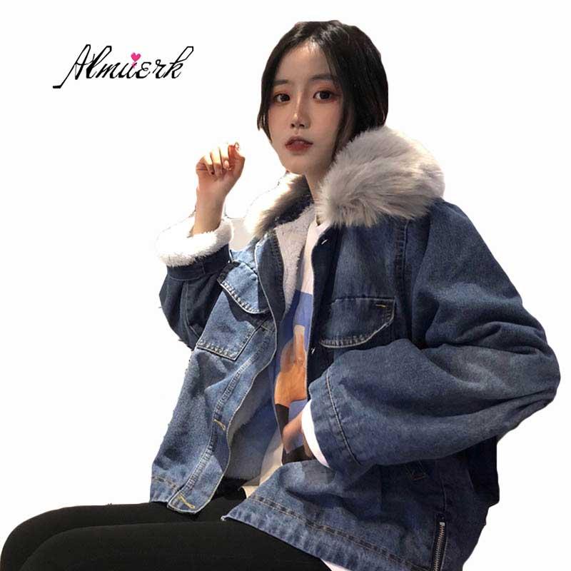 Lâche Court Outwear Femmes Jean Imitation Cheveux Z039 Blue Fourrure Veste Paragraphe Agneau Épaississement Hiver Nouvelle En Col 2018 De coréen Automne SqGVLMpUz
