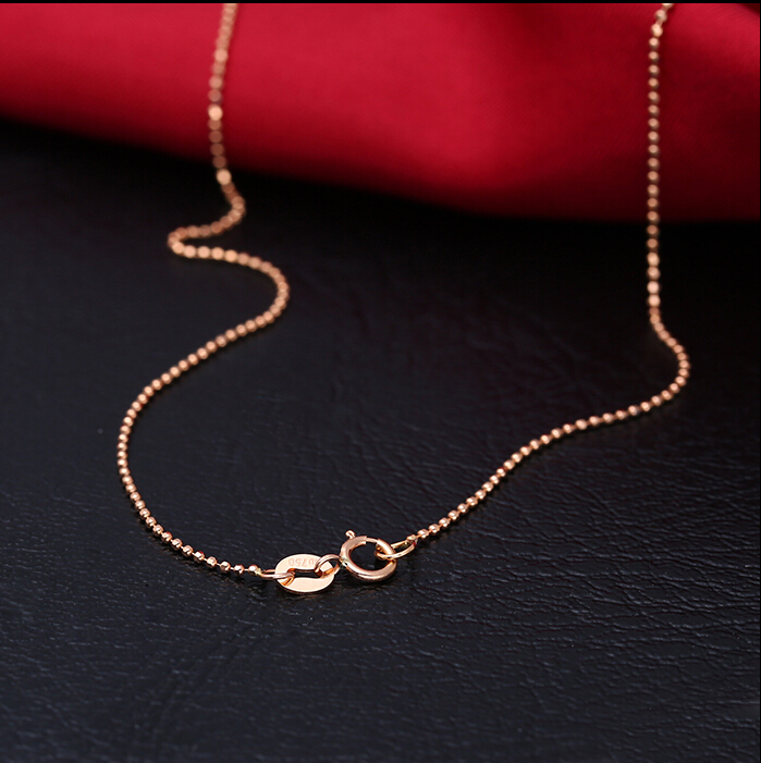 AU750 Solid Yellow Gold Beads Necklace chain 1 8g