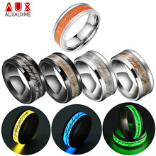 Auxauxme 1 Pcs Stainless Steel Lord of Luminous Ring 3 Colors Glowing In Dark Male Ring Party Gift Punk Jewelry Wholesale 6-13(China)