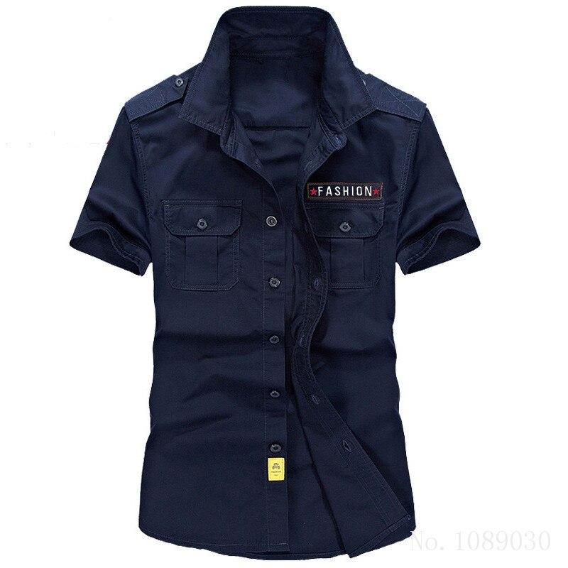 Men Casual Shirt Brand Clothing Cotton Short Sleeve New Fashion 2016 Mens cargo Shirts Breathable camisa masculina