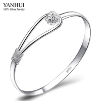 YANHUI Brand 100 925 Silver Bracelet Bangle For Women With S925 Stamp Romantic Cherry Flower Sterling