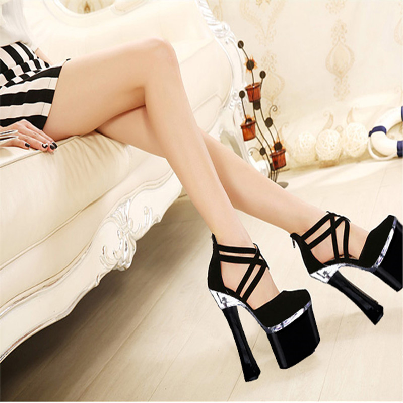 Super waterproof Taiwan thick with 18 cm high heels nightclub sexy dress shoes catwalk sandals sexy supermodels catwalk shoes super high heels shoes 20 cm cos props nightclub paris fashion boots