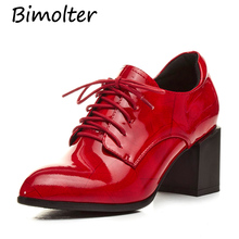 Bimolter Women Red Thick Heels Pumps Deep Mouth Lace Up Shoes For  Patent Leather Lady Handmade Retro Style FC023