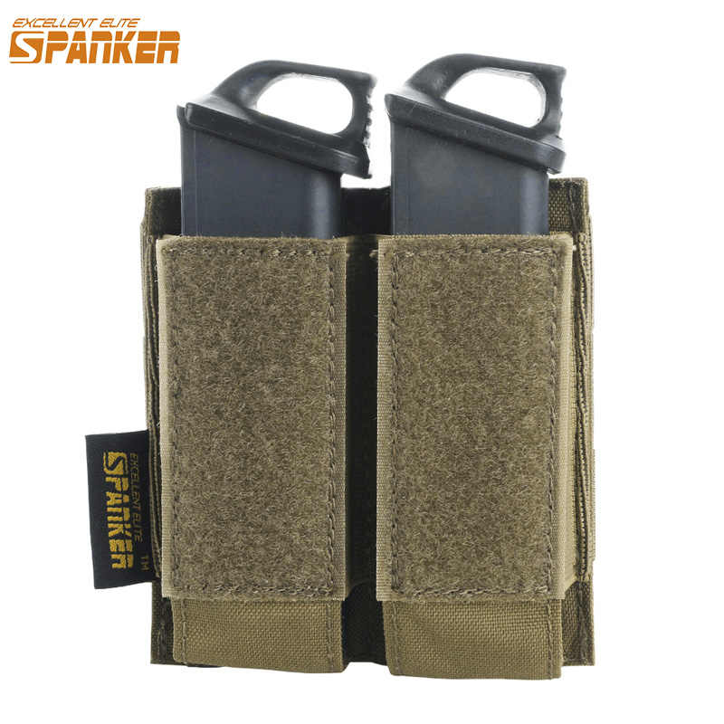 EXCELLENT ELITE SPANKER Tactical Pistol Molle Magazine Pouch Military Glock Nylon Double Clip Small Bag Paintball Game Accessory