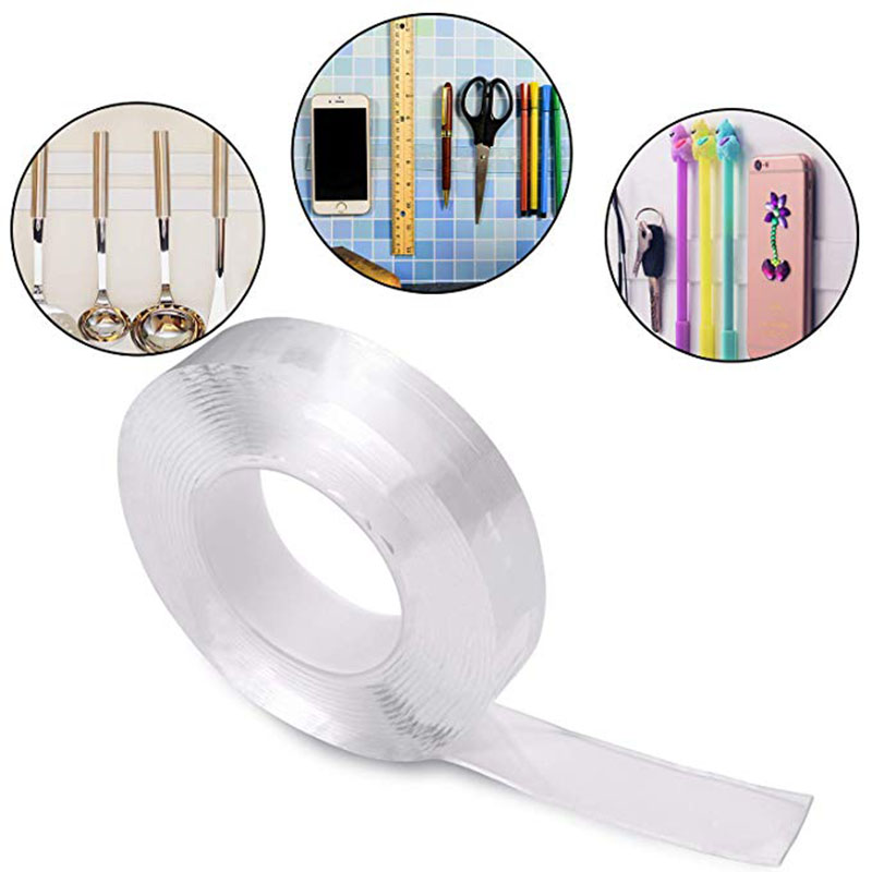 US $5 43 32% OFF|1/2/3m Strong Viscosity Double sided Adhesive Tape Clear  Washable Reusable Without Traces Magic Gel Tape Roll For Home Supplies-in