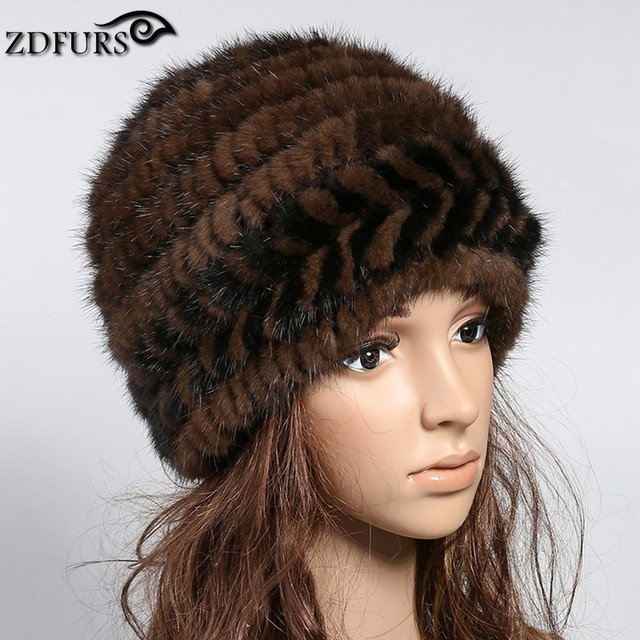ZDFURS* Winter Warm Hat for Women Real Mink Fur Knitted Beanies Cap  Female Fashion Hats with Lining ZDH-161019