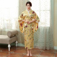 New Print Japanese Tradition Women Satin Kimono Gown Vintage Yukata With Obi Performance Dance Dress Halloween Costume One Size