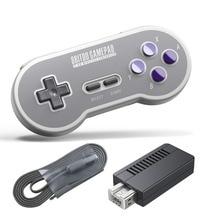 Para 8 8bitdo Wireless Controller 8 bit 2.4G USB Wireless Controller Para Nintendo Gamepad Para SNES Clássico Edição Vibração Controles de Movimento Joystick
